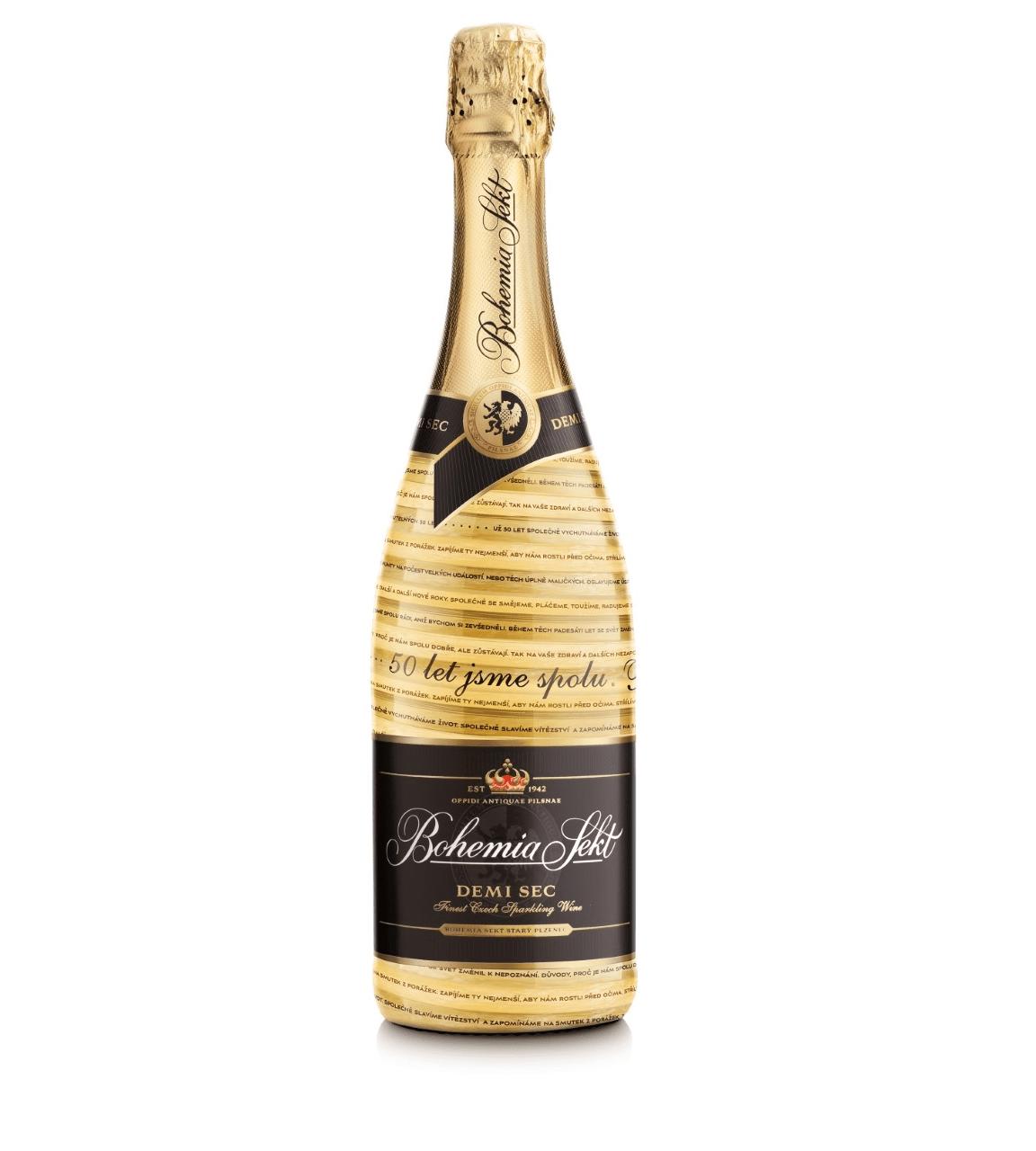 Zlatá láhev Bohemia Sektu k výročí